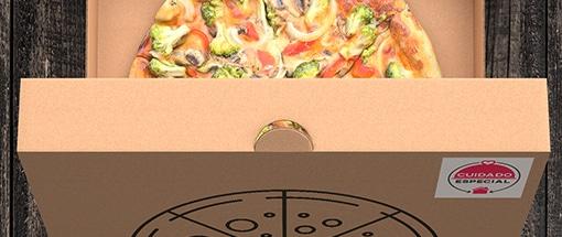 Caixa Pizza Aberta Selo Cuidado Especial