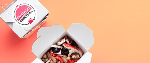 Embalagem Comida Japonesa Selo Cuidado Especial